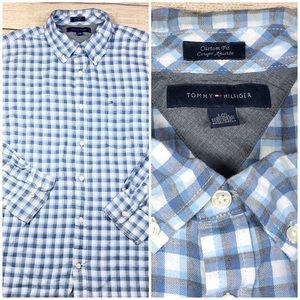 Tommy Hilfiger Large Blue Plaid Long Sleeve Shirt
